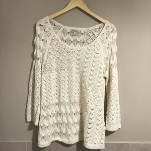 Lucky Brand Sweater Crochet Cream Boho  Large